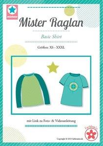 Mister Raglan/ patroon van een T-shirt in de maten XS, S, M, L, XL, XXL, XXXL