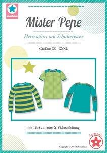 Mister Pepe / patroon van een shirt met schouderpas in de maten XS, S, M, L, XL, XXL, XXXL