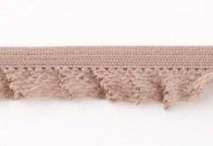 zeer zacht en elastisch rucheband, zand/lichtbruin 15mm