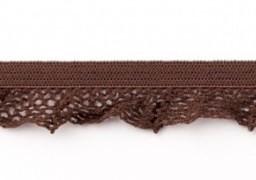 zeer zacht en elastisch rucheband, bruin 15mm