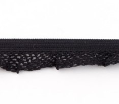 zeer zacht en elastisch rucheband, zwart 15mm