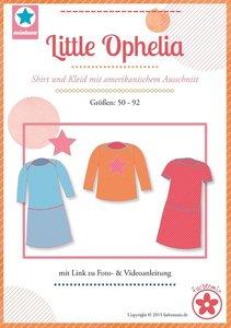 Little Ophelia, patroon van een shirt voor jongens en meisjes en een jurk in de maten 50, 56, 62, 68, 74, 80, 86, 92