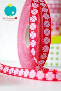 byGraziela, klavertjes-vier-band rood, sierbandje