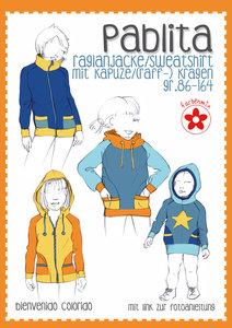 Pablita, raglanvest/-shirt met kraag of capuchon in de maten 86/164