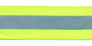 Fluoriserend geel/groen ribsband met reflectiestreep 25 mm