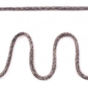 Koord 5 mm gevlochten katoenen koord, gemêleerd middengrijs