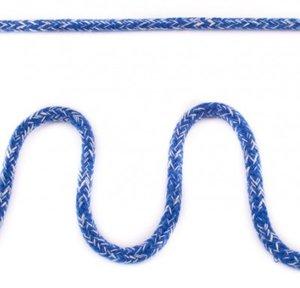 Koord 5 mm gevlochten katoenen koord, gemêleerd blauw