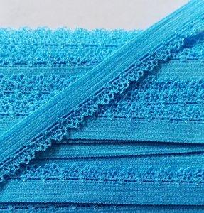 zacht soepel elastiek met kantje, turquoise 1 cm breed