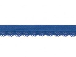zacht soepel elastiek met kantje, blauw 1 cm breed