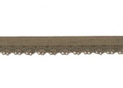 zacht soepel elastiek met kantje, legergroen 1 cm breed