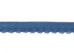 zacht soepel elastiek met kantje, jeansblauw 1 cm breed