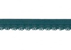 zacht soepel elastiek met kantje, petrol 1 cm breed