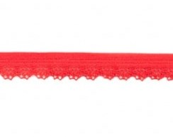 zacht soepel elastiek met kantje, rood 1 cm breed