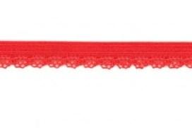 zacht soepel elastiek met kantje, framboosrood 1 cm breed
