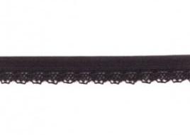 zacht soepel elastiek met kantje, zwart 1 cm breed