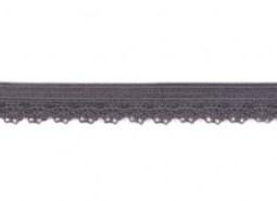 zacht soepel elastiek met kantje, grijs 1 cm breed