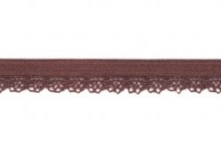 zacht soepel elastiek met kantje, bruin1 cm breed
