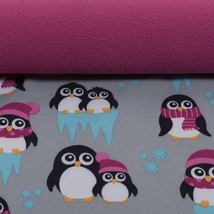 Sheldon: softshell pinguins grijs met roze, winddicht