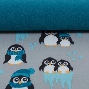 softshell pinguins grijs met petrol en turquoise, winddicht