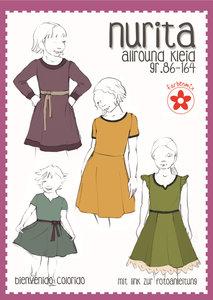 NURITA, jurk voor het hele jaar in de maten 86 t/m 164.