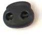 koordstopper met twee gaten voor koord tot maximaal 5 mm, zwart