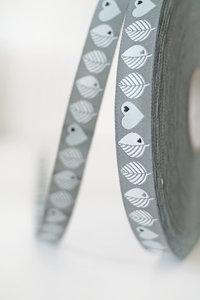 byGraziela blaadjes en harten, grijs, sierbandje 15 mm breed