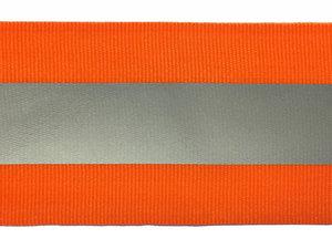Fluoriserend oranje ribsband met reflectiestreep 50mm