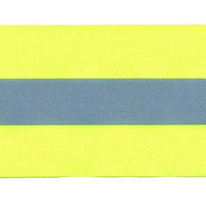 Fluoriserend geel ribsband met reflectiestreep 50mm