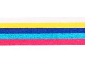 taille-elastiek 4 cm breed: bredere strepen: wit- geel enz /HALVE METER