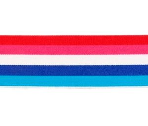 taille-elastiek 4 cm breed: bredere strepen: rood-fuchsia enz /HALVE METER