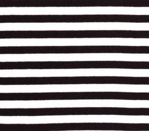 zwart/witte strepentricot van 0,5 cm breed