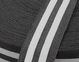 25 mm breed ribsband met reflecterende donker-zilveren strepen