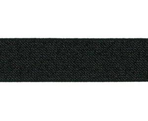 glitter-taille-elastiek zwart 2,5 cm breed:  / HALVE METER