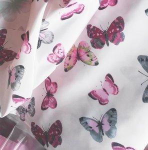 jassenstof vlinders op heeeel zacht roze