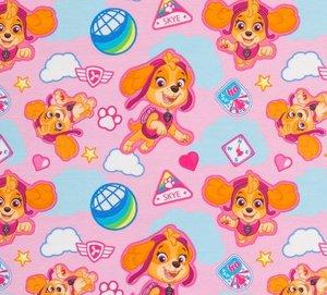 coupon 45 cm: Paw Patrol, roze tricot met Skye