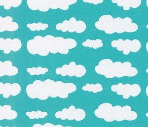 Verena, mooie mintkleur tricot met wolkjes