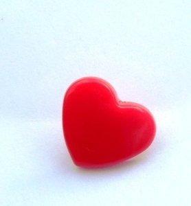 snaps helderrood glanzend hartje, kleur 1