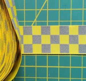 ribsband met reflecterende ruitjes / geel