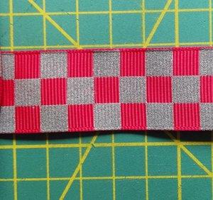 ribsband met reflecterende ruitjes / rood