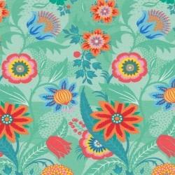 Flora: tricot fantastiebloemen op lichtgroenig mint naar een ontwerp van Jolijou