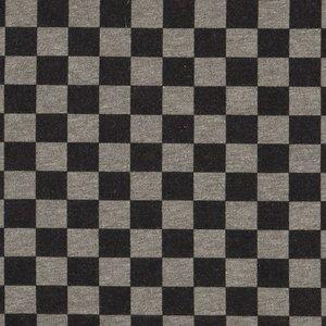 Bielefeld: dikkere wintertricot met blokjes van 1,5 cm zwart/grijs