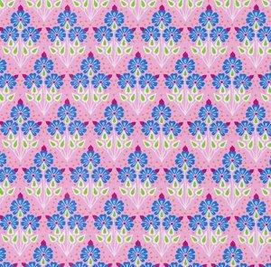 Flora: tricot kleine blauwe bloemetjes op roze naar een ontwerp van Jolijou