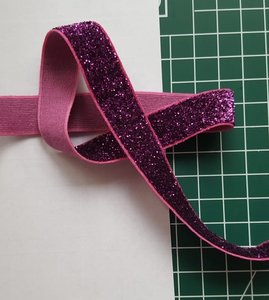 glitterelastiek paars 1,6 cm breed