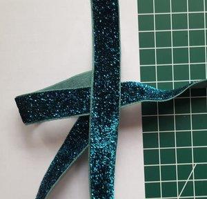 glitterelastiek petrol 1,6 cm breed (nog 1 meter)