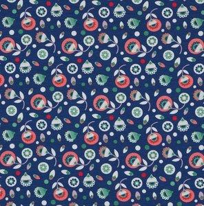 Bloomstar: tricot kleine  bloemetjes op donkerblauw naar een ontwerp van Jolijou