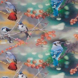 Tim: digitaal bedrukte tricot: vogels op takken tussen de rode bessen