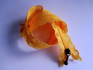 rits met kanten rand 20 cm, oranje