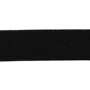 zwart: omvouwelastiek 2 cm breed met ribbeltje
