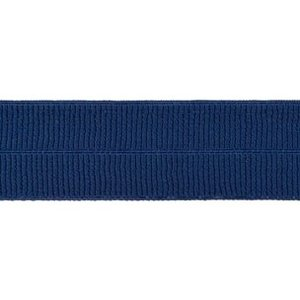 donkerblauw: omvouwelastiek 2 cm breed met ribbeltje