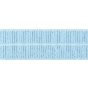 lichtjeansblauw: omvouwelastiek 2 cm breed met ribbeltje